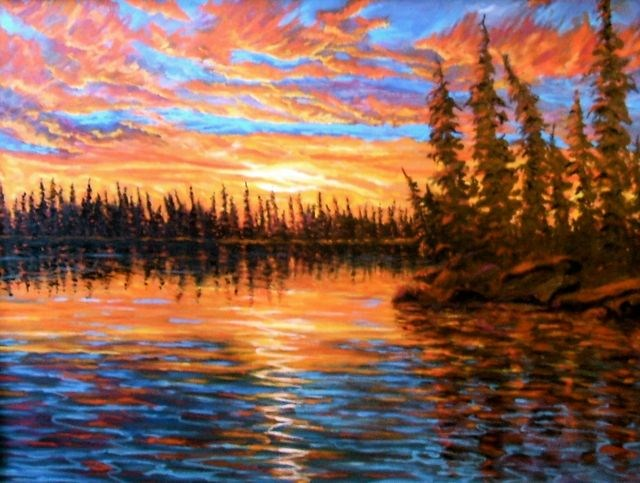 """Dragon Lake Sunset"" original fine art by Jackie Irvine"
