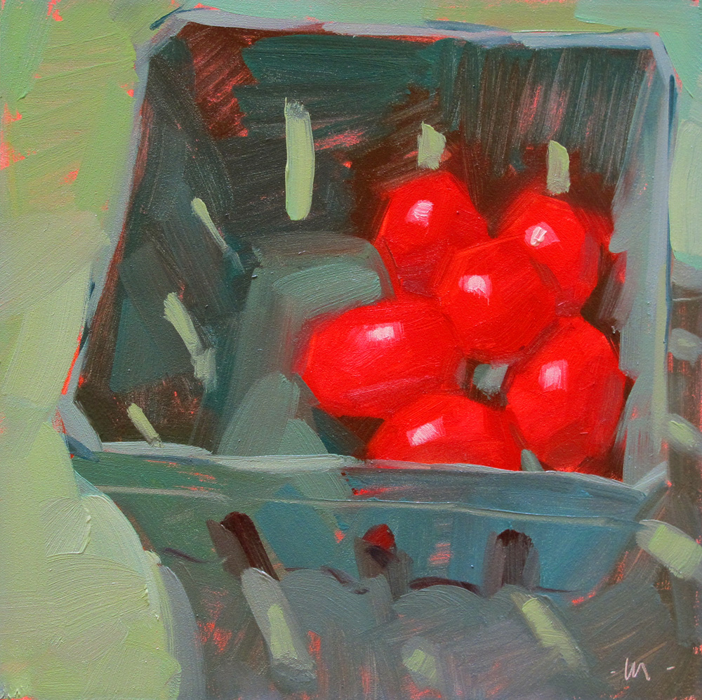"""Farmers Market Tomatoes"" original fine art by Carol Marine"