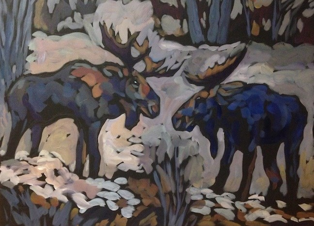 """""""Moose Duet"""" original fine art by Kat Corrigan"""