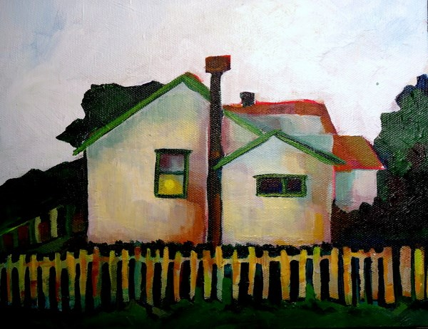 """Lone White House"" original fine art by Laurie Mueller"