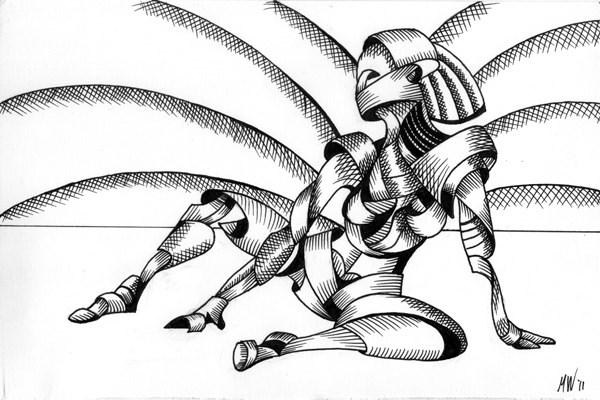 """""""Mark Webster - Abstract Nude Figurative Pen and Ink Drawing"""" original fine art by Mark Webster"""