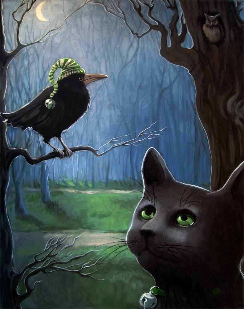 """Night Rendezvous - black cat & crow fantasy"" original fine art by Linda Apple"
