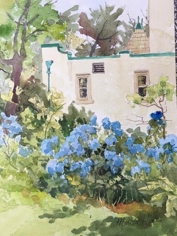 """Blue Hydrangea"" original fine art by Marita Hines"