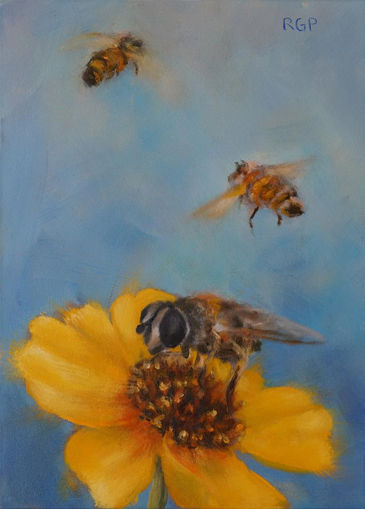 """Busy Bees"" original fine art by Rhea  Groepper Pettit"
