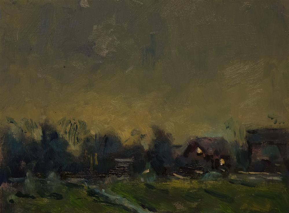 """Evening Farm Buildings"" original fine art by Andre Pallat"