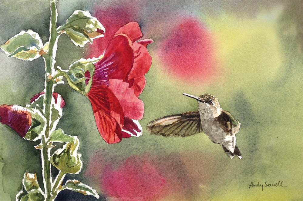 """""""Little Hummer"""" original fine art by Andy Sewell"""