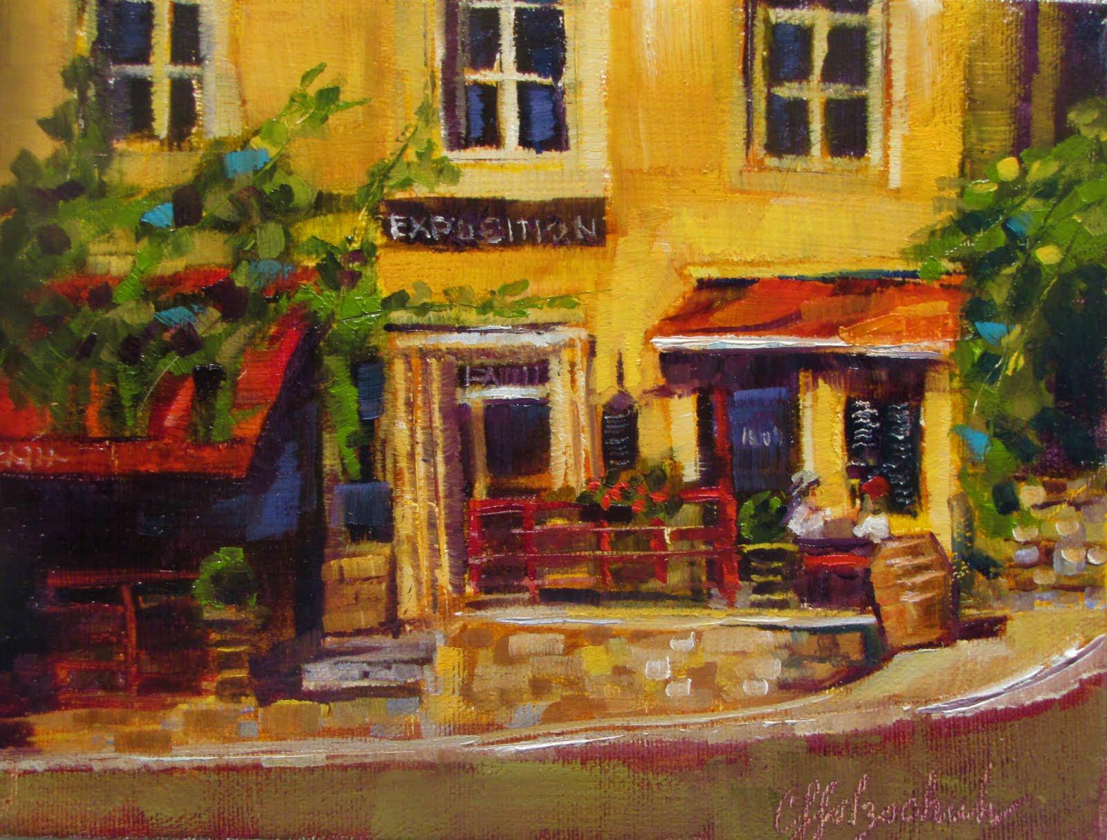 """""""Guinguette de l'Air   oil 8x10  #352 sold"""" original fine art by Christine Holzschuh"""