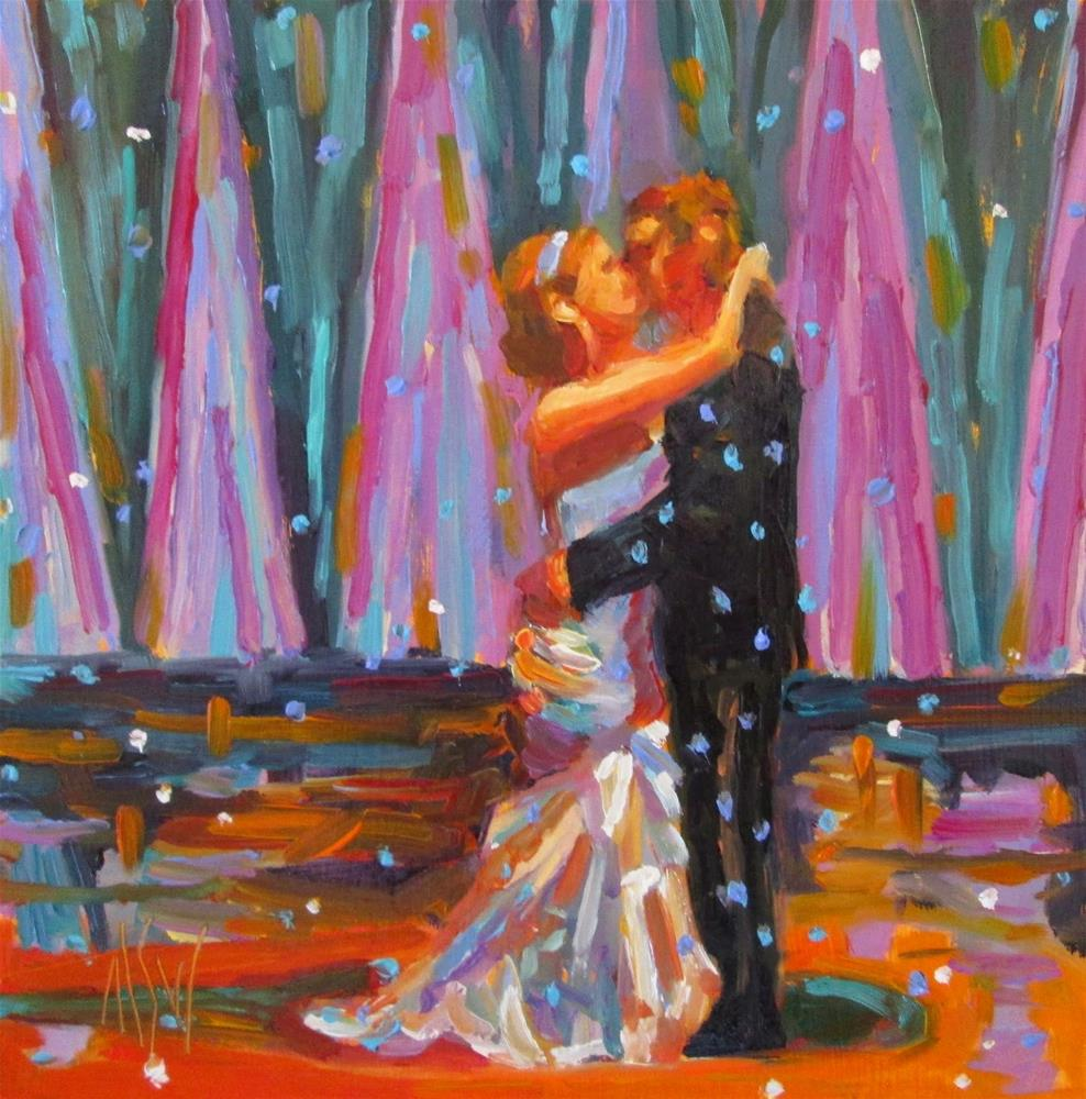 """""""GJWP Challenge Bride the first dance as a married  couple is so special."""" original fine art by Mary Sheehan Winn"""