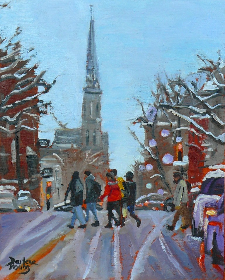 """587 Montreal Rue Saint-Denis"" original fine art by Darlene Young"