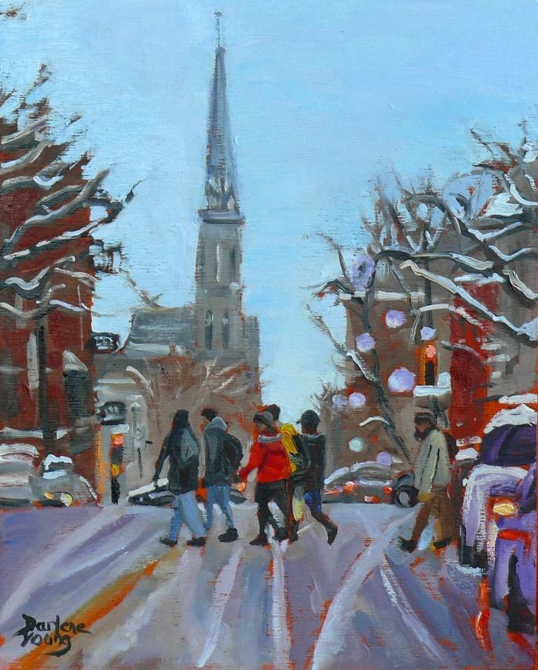 """587 Montreal Rue Saint-Denis"" original fine art by Darlene Young"