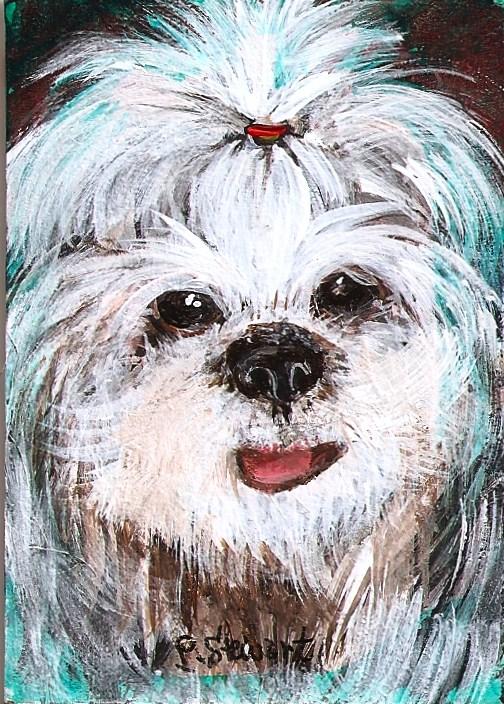 """ACEO Shi Tsu Dog pet portrait on Masonite"" original fine art by Penny Lee StewArt"