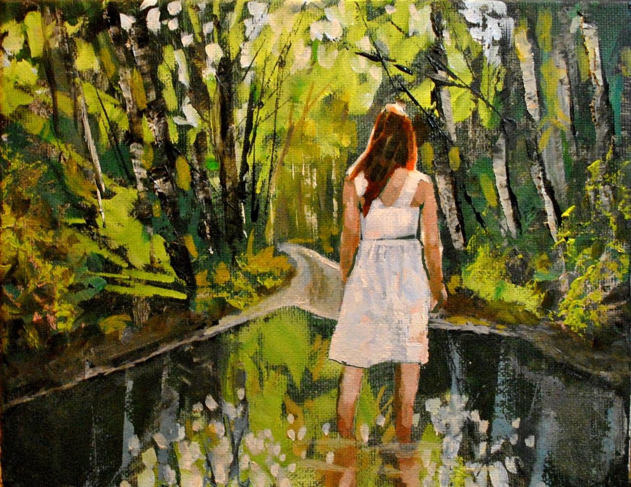 """Fresh Forrest 8x10 oil on canvas in darkwood frame"" original fine art by David Larson Evans"