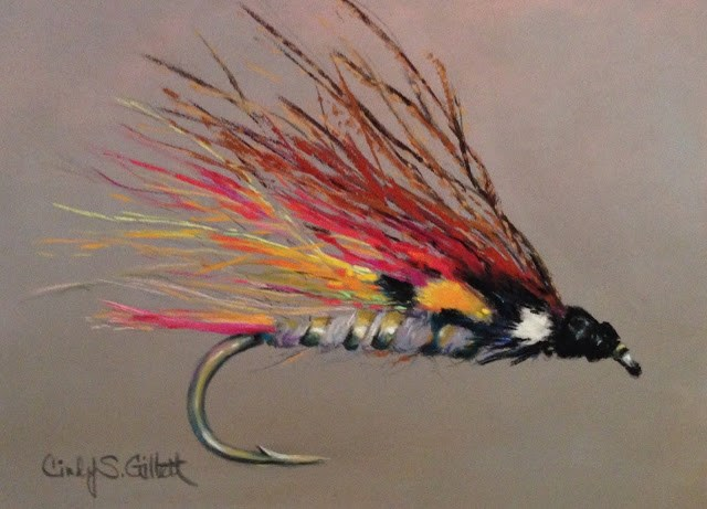 """""""Fly 11 - The Little Brown Trout"""" original fine art by Cindy Gillett"""