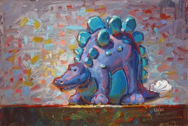 """Purple Dinosaur Toy"" original fine art by Raymond Logan"