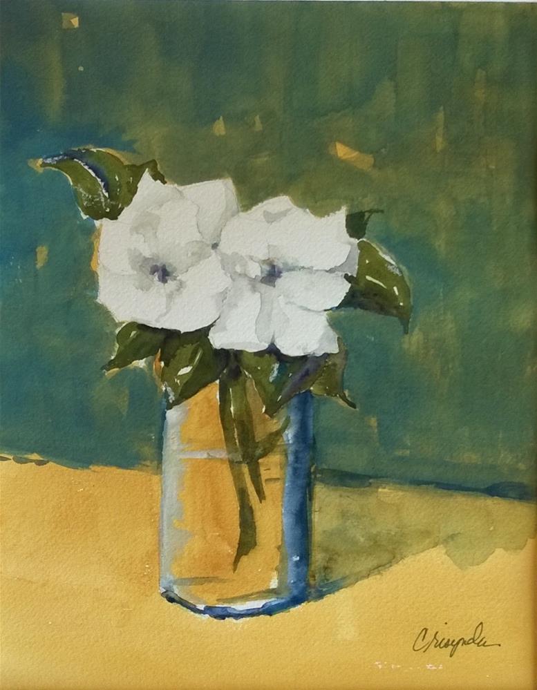 """Two Gardenias No 2"" original fine art by Crisynda Buss"