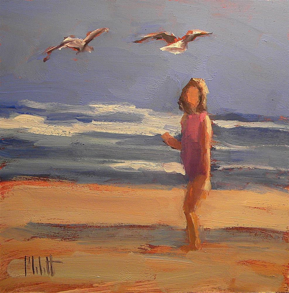 """Watching Seagulls Girl on Beach Spring Break Oil Painting Art"" original fine art by Heidi Malott"
