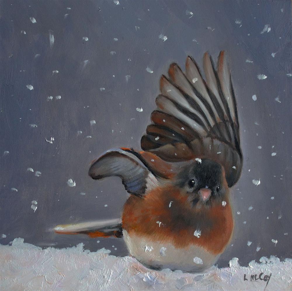 """Snowbird, Slate Colored Junco"" original fine art by Linda McCoy"