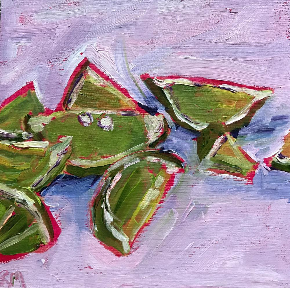 """""""Green Slices with Pink"""" original fine art by Rita Malenczyk"""