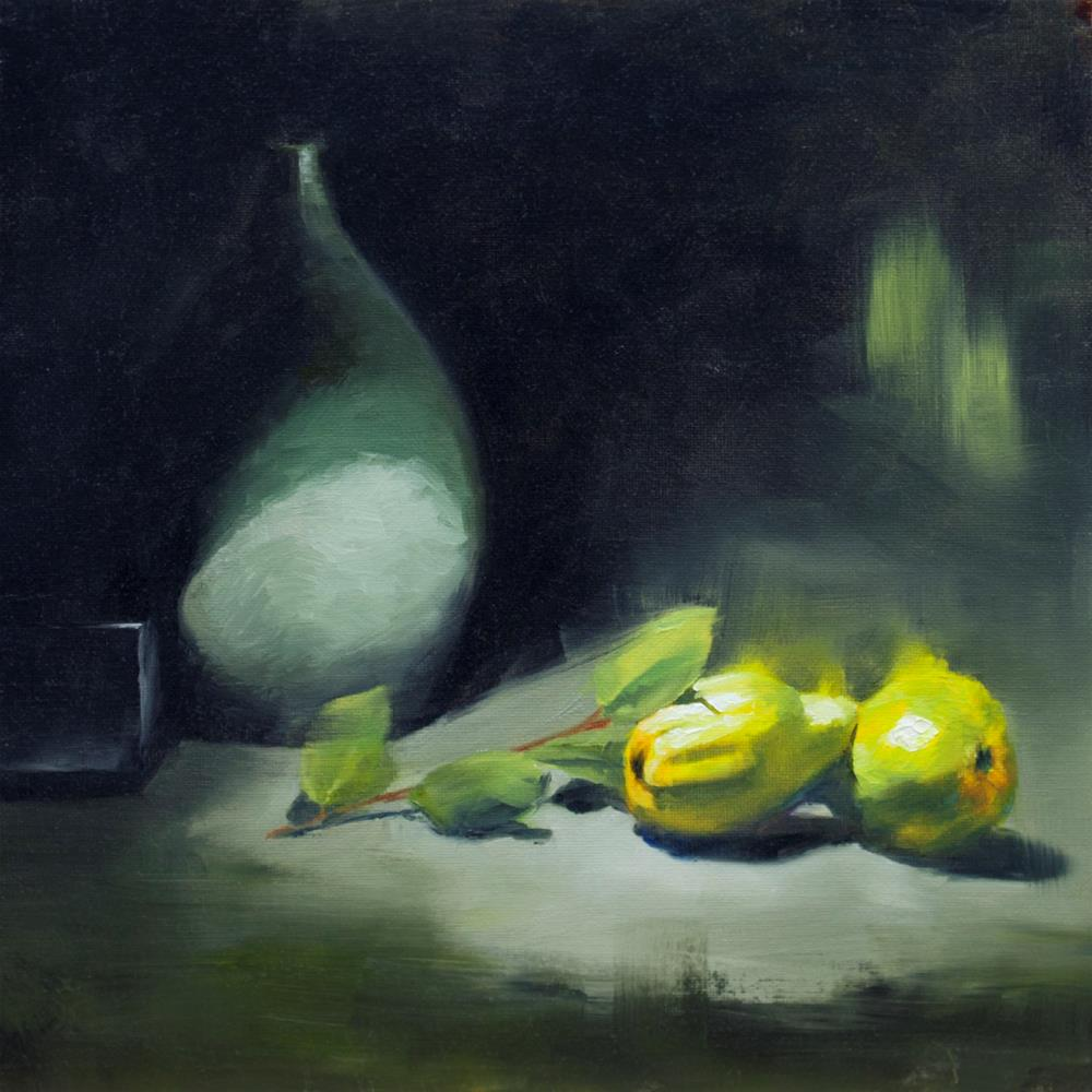 """""""Yellow fruits and grey"""" original fine art by Thierry Monter"""