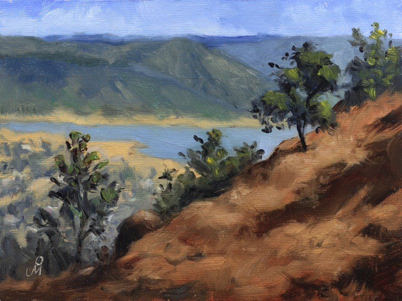 """Backwater of Dhom Dam"" original fine art by Mandar Marathe"