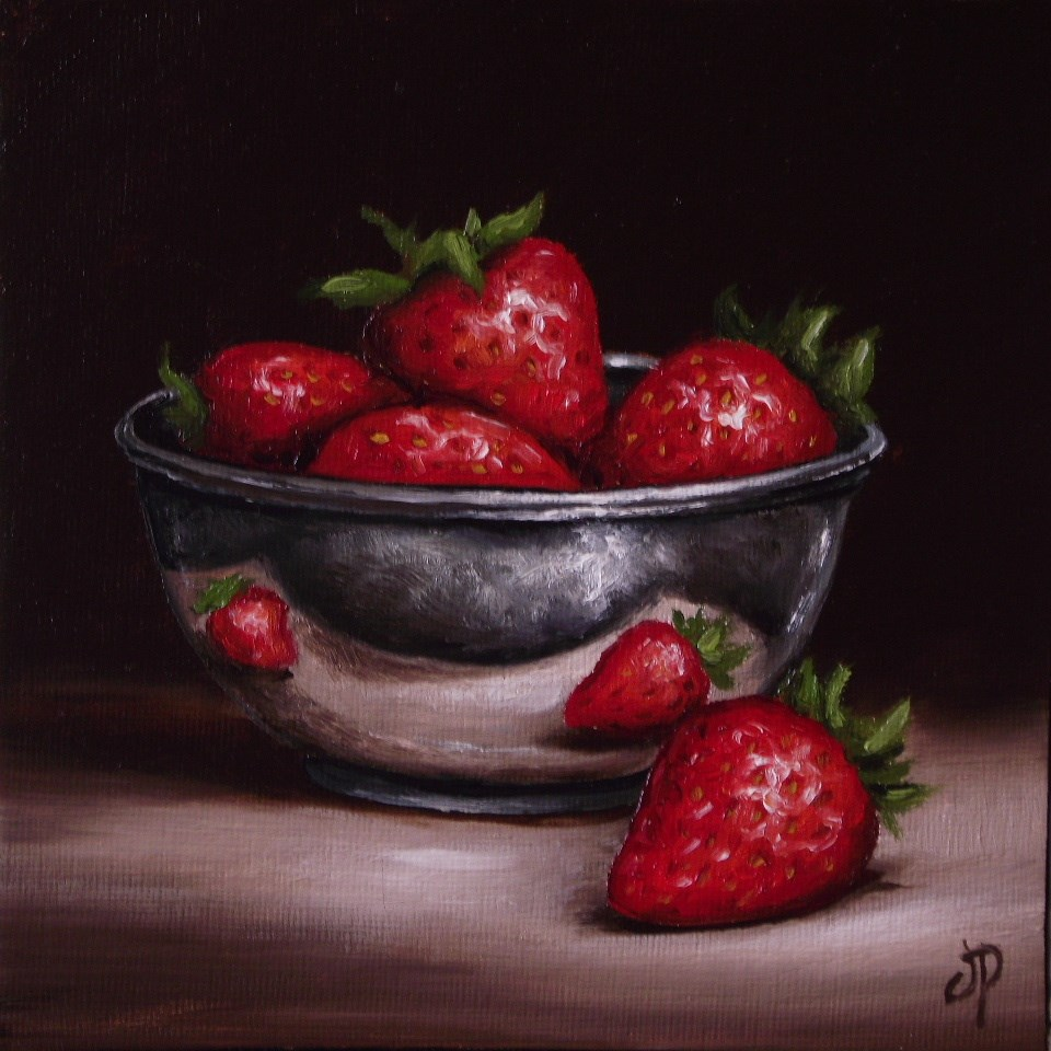 """Strawberries in Silver"" original fine art by Jane Palmer"