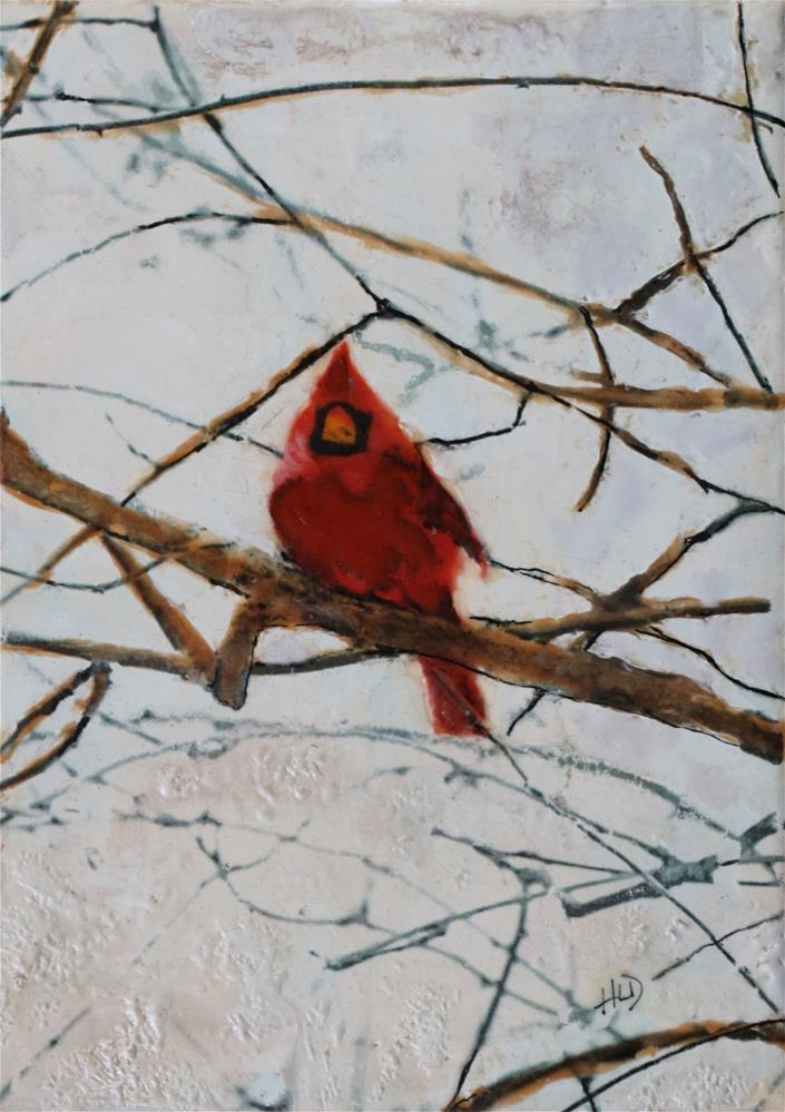 """Winter Cardinal"" original fine art by Heather Douglas"