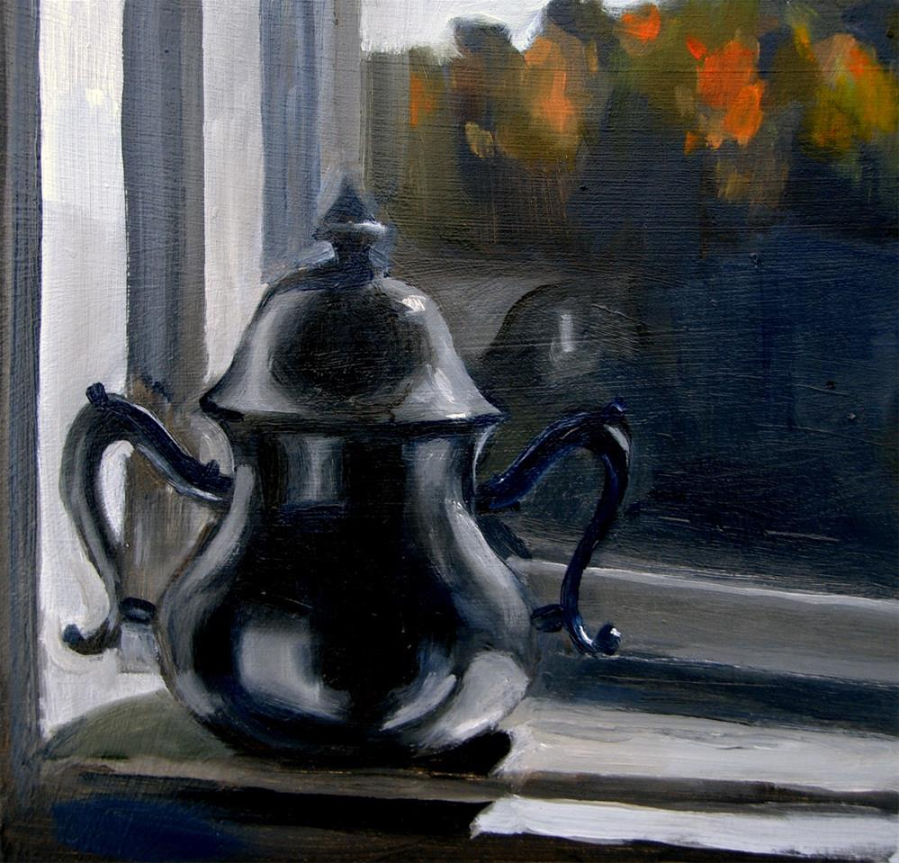 """""""Pewter Sugarbowl On Sill (no.27)"""" original fine art by Michael William"""