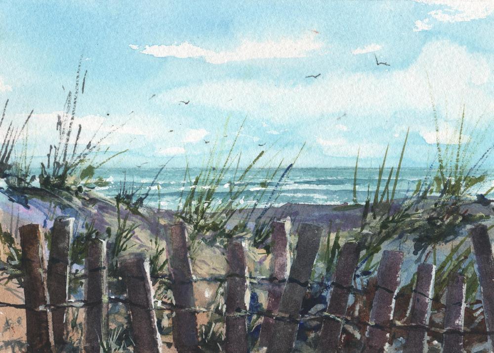 """""""BEACH FENCES"""" original fine art by Linda Henry"""