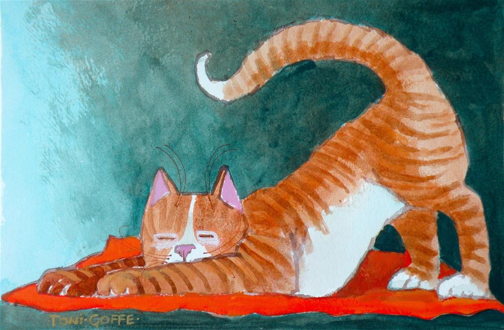 """""""Yoga, so good for you"""" original fine art by Toni Goffe"""