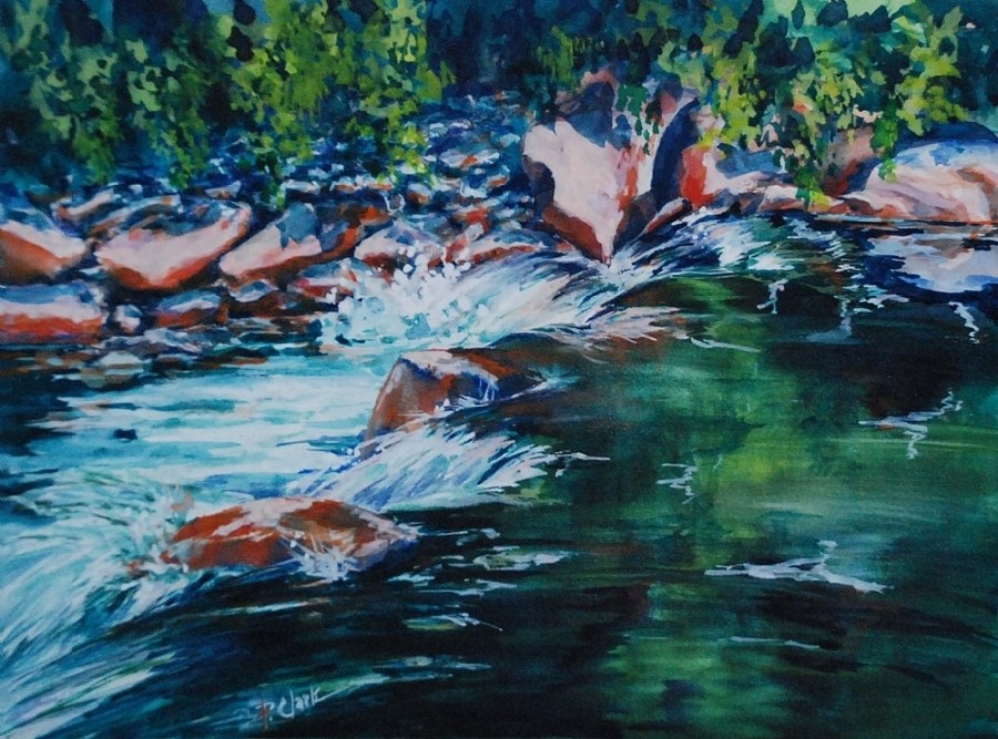 """Covington Falls"" original fine art by Donna Pierce-Clark"