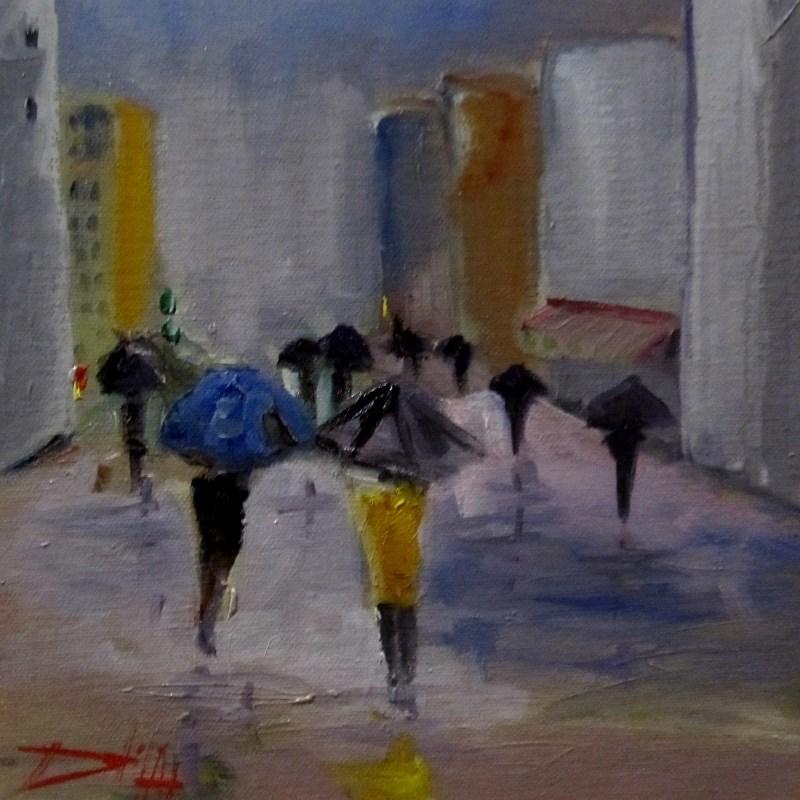 """City Rain"" original fine art by Delilah Smith"