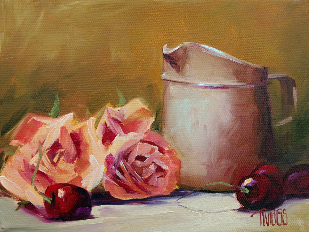 """Bings & Blooms"" original fine art by Lori Twiggs"