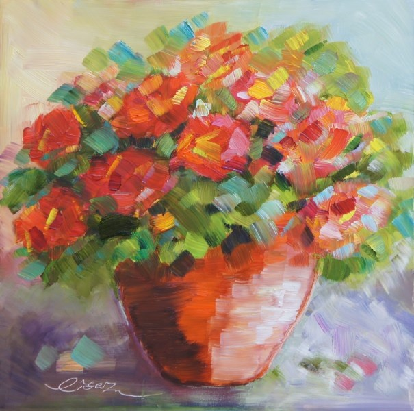 """""""Geraniums in a clay pot"""" original fine art by Lisa Fu"""