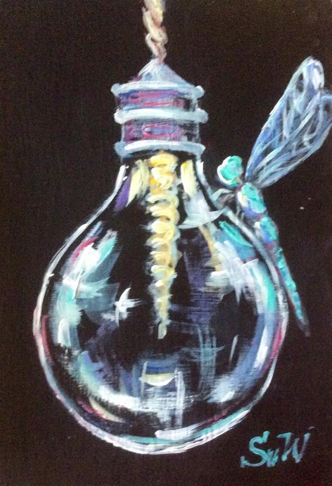 """Lightbulb with blue dragonfly"" original fine art by Sonia von Walter"