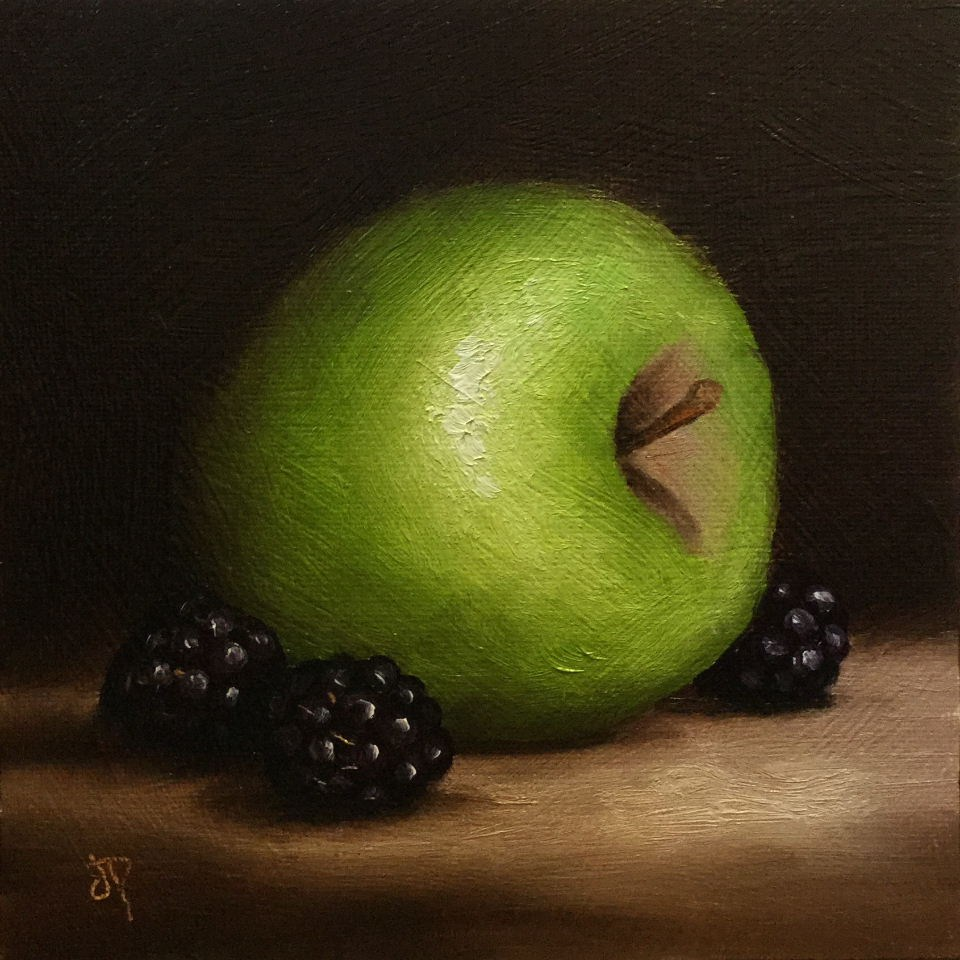 """Green Apple with Blackberries"" original fine art by Jane Palmer"