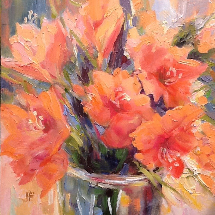 """Peach Flowers"" original fine art by Jean Fitzgerald"