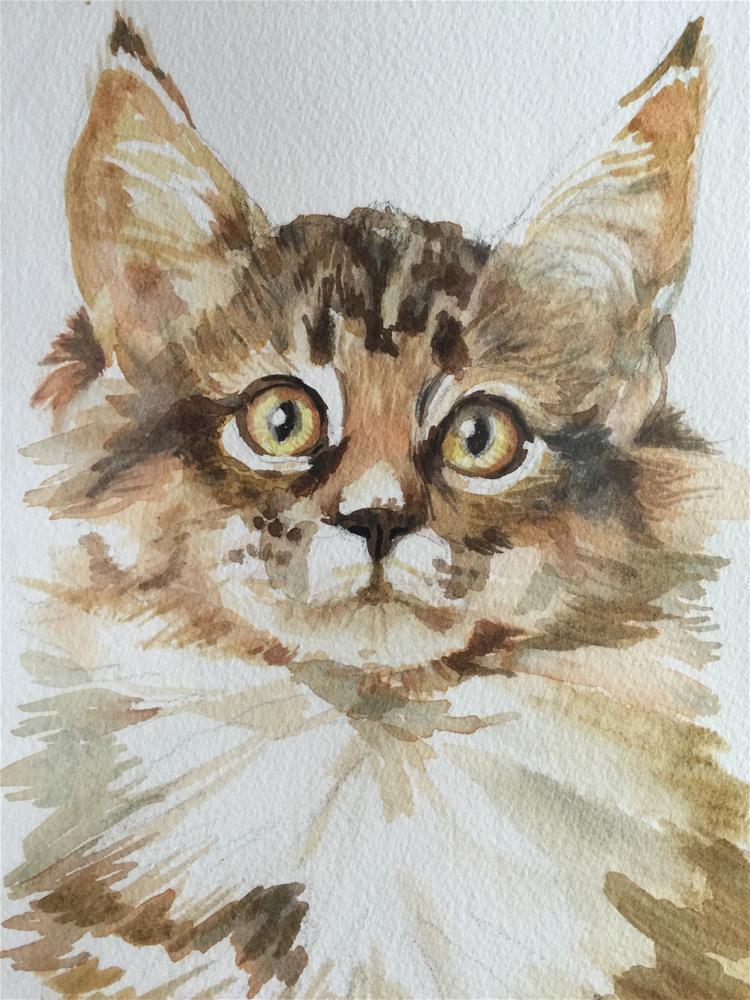 """Kitty Kitty"" original fine art by Jini James"