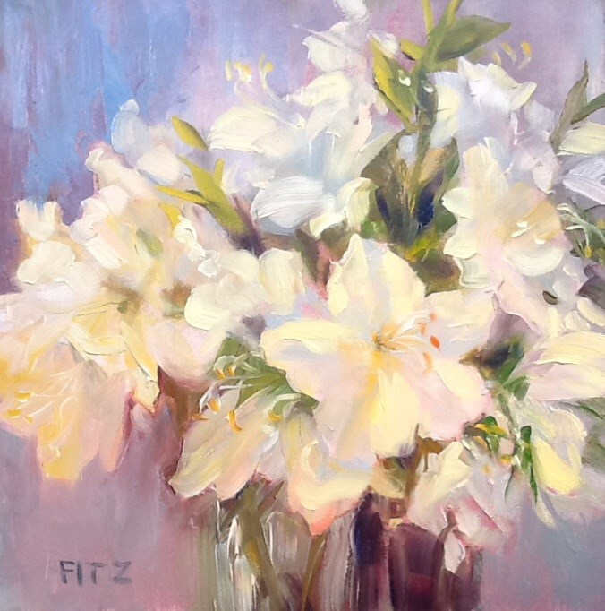 """White Azaleas"" original fine art by Jean Fitzgerald"