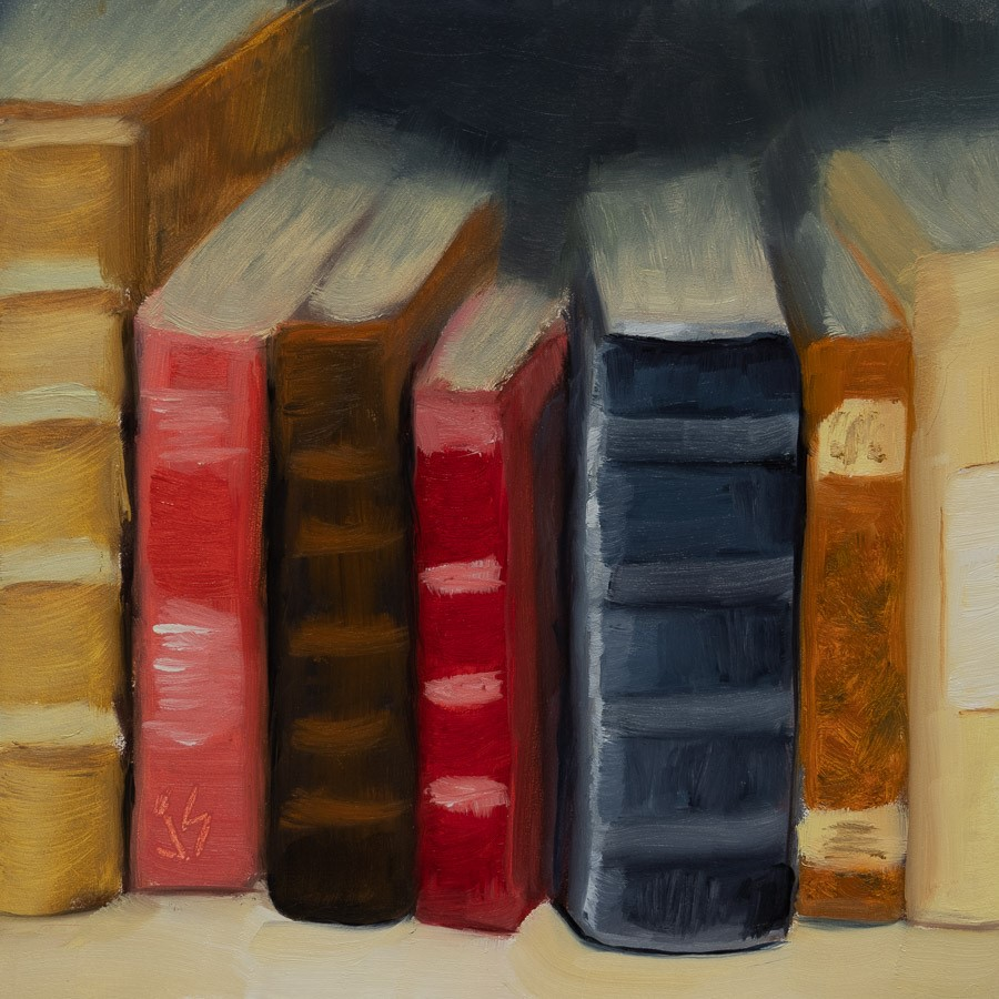 """In Between Books"" original fine art by Johnna Schelling"