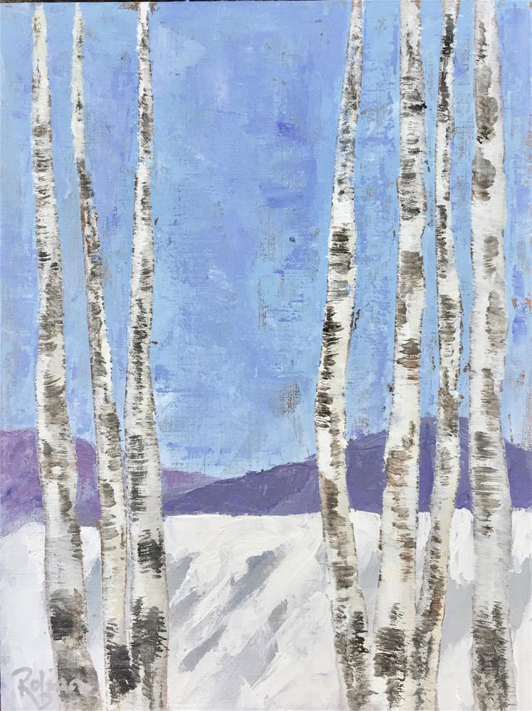 """Winter Aspens"" original fine art by Renee Robison"