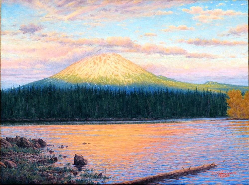 """""Evening Glow"" (Mount Bachelor, Elk Lake, Oregon)"" original fine art by Steven Thor Johanneson"