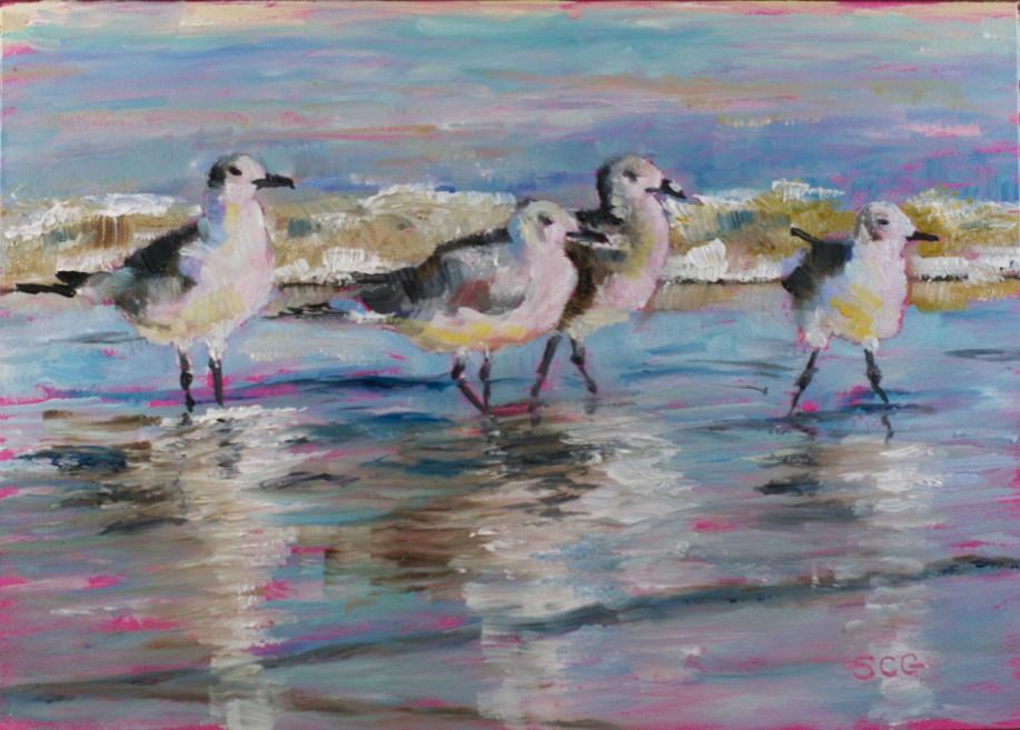 """Reflected Gulls"" original fine art by Sue Churchgrant"
