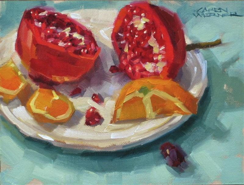 """""""Pom & Orange"""" original fine art by Karen Werner"""