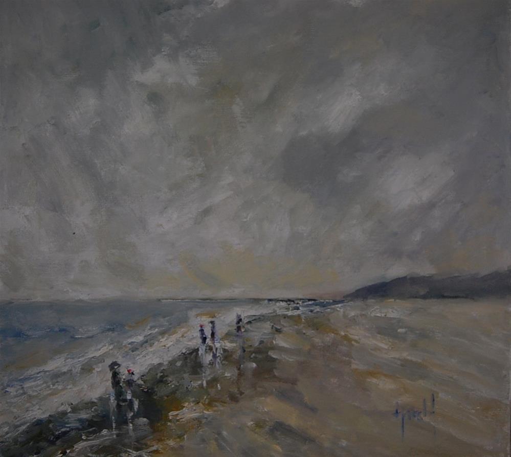 """Beach Walk"" original fine art by Deborah Harold"