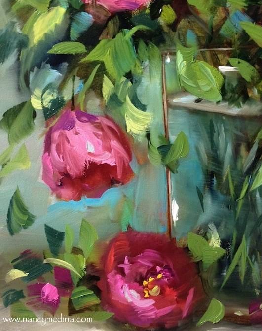 """""""Think Pink Tulips and a New Italy Workshop - Flower Paintings by Nancy Medina"""" original fine art by Nancy Medina"""