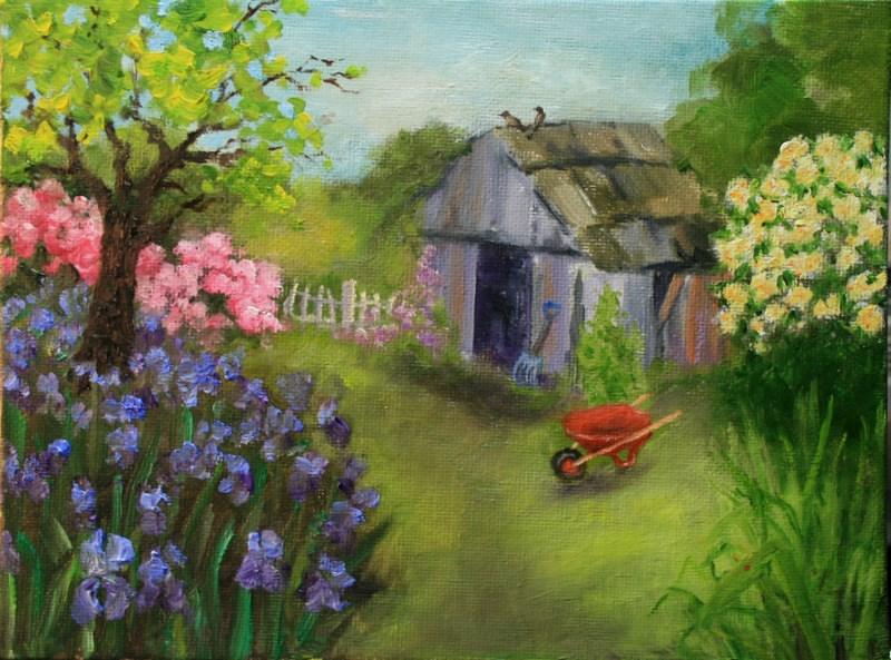 """""""Garden Shed"""" original fine art by Jean Nelson"""