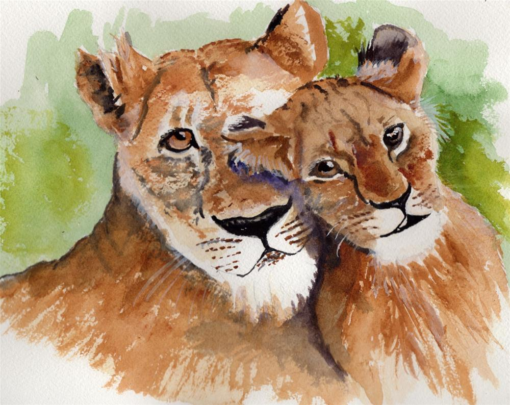 """Lioness and Her Cub"" original fine art by Bunny Griffeth"