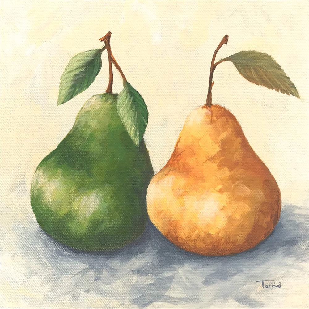 """""""Pears Green and Gold"""" original fine art by Torrie Smiley"""