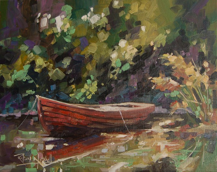 """No 606 The Old Girl in the Pond"" original fine art by Robin J Mitchell"