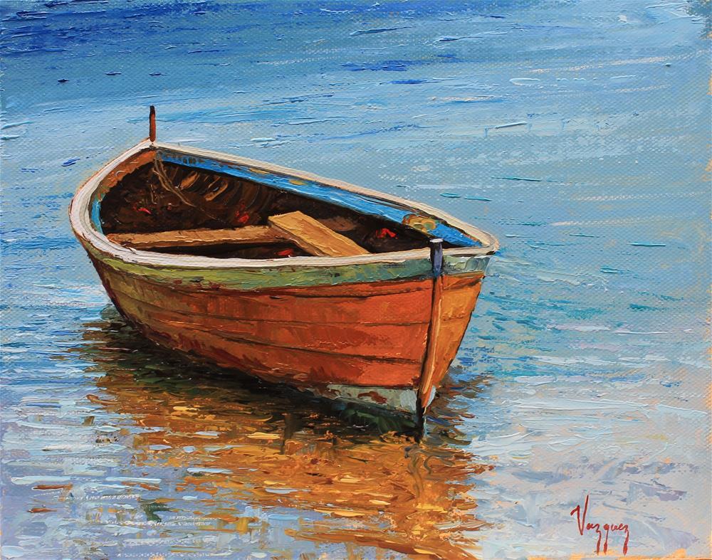 """""""Vibrant boat scene """" original fine art by Marco Vazquez"""